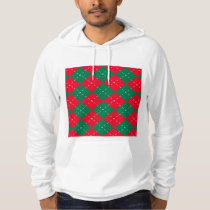 Christmas Red and Green Argyle Pattern Hoodie