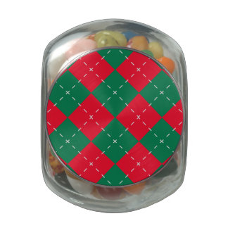 Christmas Red and Green Argyle Pattern Jelly Belly Candy Jar