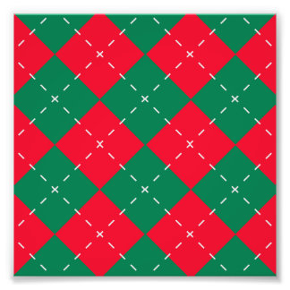 Christmas Red and Green Argyle Pattern Photo Print