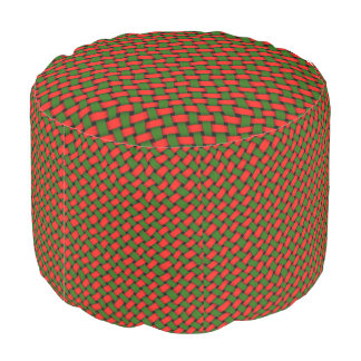 Christmas Red And Green Basketweave Pattern Pouf
