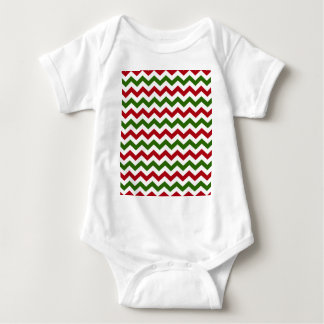 Christmas Red and Green Chevron Pattern Baby Bodysuit