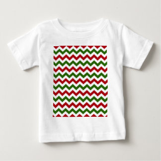 Christmas Red and Green Chevron Pattern Baby T-Shirt