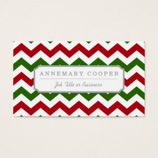 Christmas Red and Green Chevron Pattern Business Card