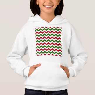 Christmas Red and Green Chevron Pattern Hoodie