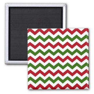 Christmas Red and Green Chevron Pattern Magnet