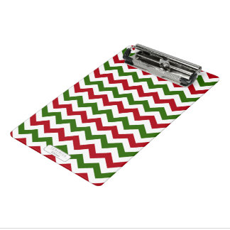 Christmas Red and Green Chevron Pattern Mini Clipboard