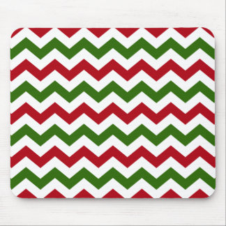 Christmas Red and Green Chevron Pattern Mouse Pad