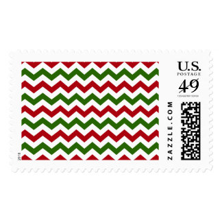 Christmas Red and Green Chevron Pattern Postage