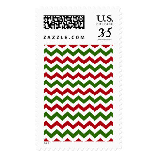 Christmas Red and Green Chevron Pattern Postage Stamp