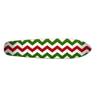 Christmas Red and Green Chevron Pattern Skateboard