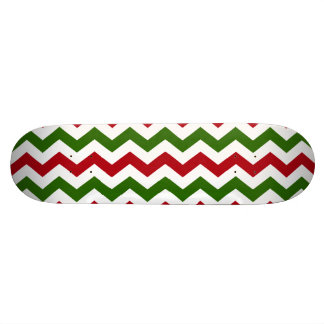 Christmas Red and Green Chevron Pattern Skateboard Deck