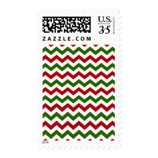 Christmas Red and Green Chevron Pattern Stamp