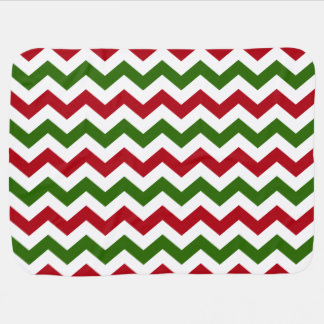 Christmas Red and Green Chevron Pattern Stroller Blanket