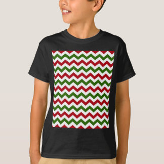 Christmas Red and Green Chevron Pattern T-Shirt
