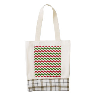 Christmas Red and Green Chevron Pattern Zazzle HEART Tote Bag