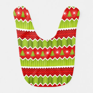 Christmas Red And Green Chevron Stripes Pattern Baby Bib