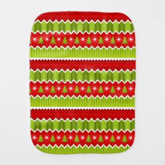 Christmas Red And Green Chevron Stripes Pattern Burp Cloth