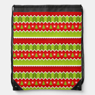 Christmas Red And Green Chevron Stripes Pattern Drawstring Backpack