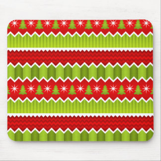 Christmas Red And Green Chevron Stripes Pattern Mouse Pad