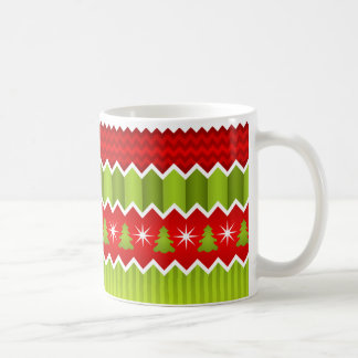 Christmas Red And Green Chevron Stripes Pattern Mugs