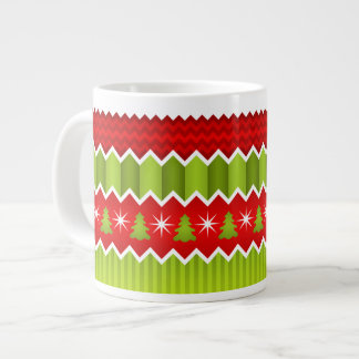 Christmas Red And Green Chevron Stripes Pattern Extra Large Mugs