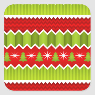 Christmas Red And Green Chevron Stripes Pattern Square Sticker