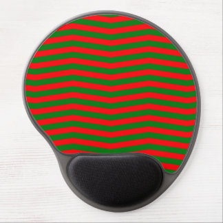 Christmas Red and Green Chevron Zig Zag Stripes Gel Mouse Pad