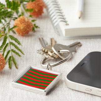 Christmas Red and Green Chevron Zig Zag Stripes Keychain