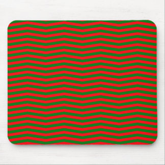 Christmas Red and Green Chevron Zig Zag Stripes Mouse Pad