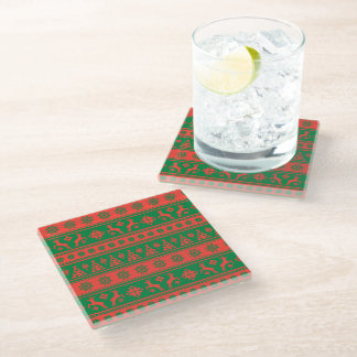 Christmas Red and Green Deer and Trees Pattern Glass Coaster
