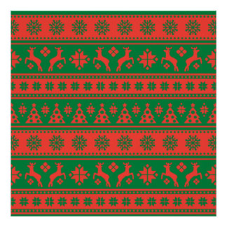 Christmas Red and Green Deer and Trees Pattern Poster