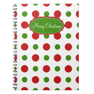 Christmas red and green fun Polka dots Notebook
