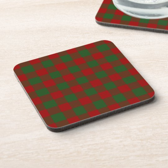 Christmas Red and Green Gingham Pattern Coaster