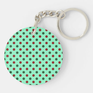 Christmas Red and Green Polka Dots Keychain