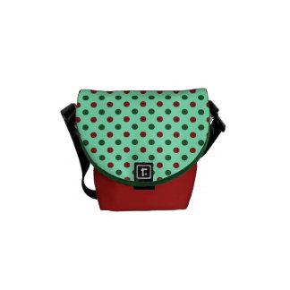 Christmas Red and Green Polka Dots Messenger Bag