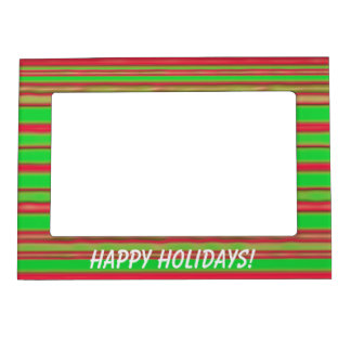 Christmas Red and Green Stripes Magnetic Picture Frame