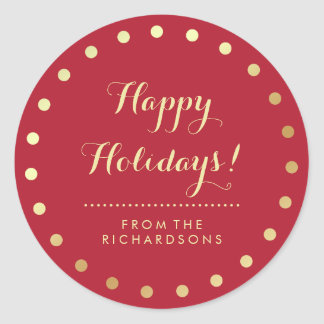 Christmas Red and Modern Gold Dots Happy Holidays Classic Round Sticker