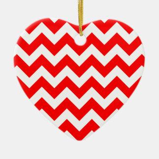 Christmas red and white chevron stripes pattern ceramic ornament