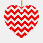 Christmas red and white chevron stripes pattern christmas ornaments