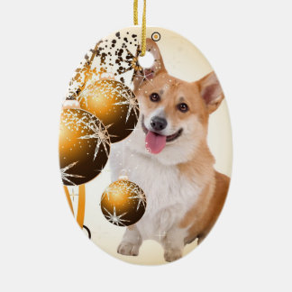 Christmas Red and White Corgi Ceramic Ornament