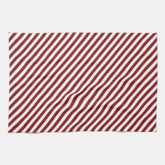 Christmas red and white diagonal stripes. hand towel