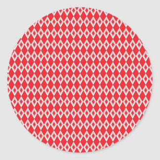 Christmas Red and White Diamond Pattern Classic Round Sticker