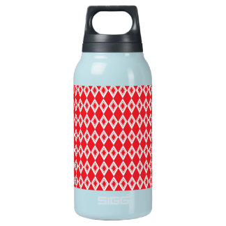 Christmas Red and White Diamond Pattern Insulated Water Bottle