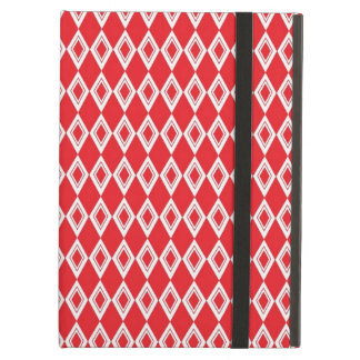 Christmas Red and White Diamond Pattern iPad Cases