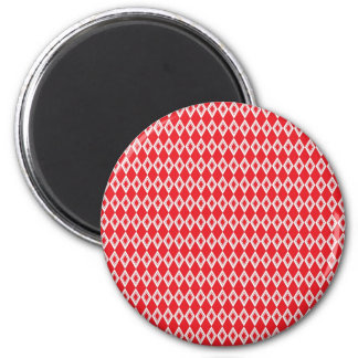 Christmas Red and White Diamond Pattern Fridge Magnet
