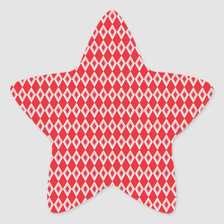 Christmas Red and White Diamond Pattern Star Sticker