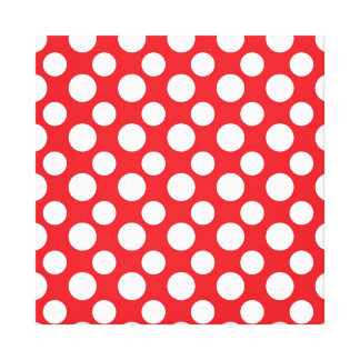 Christmas Red and White Dot Patterns Stretched Canvas Prints