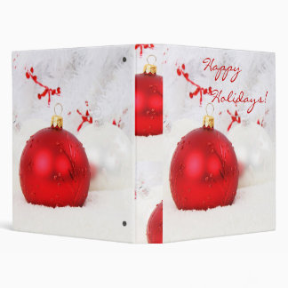 Christmas Red And White Happy Holidays 3 Ring Binder