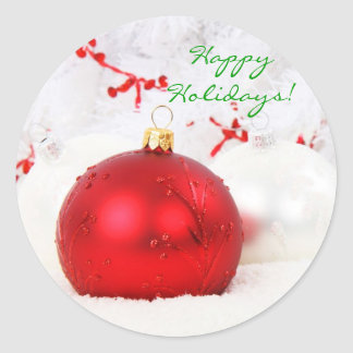 Christmas Red And White Happy Holidays I Round Sticker