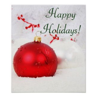 Christmas Red And White Happy Holidays V Poster